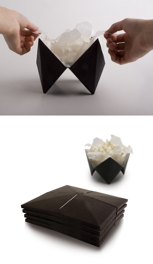 Designer AnniNykanen Took Inspiration From The Art Of Origami When Designing This Popcorn Packaging Box Expands As Is Cooked Turning Into