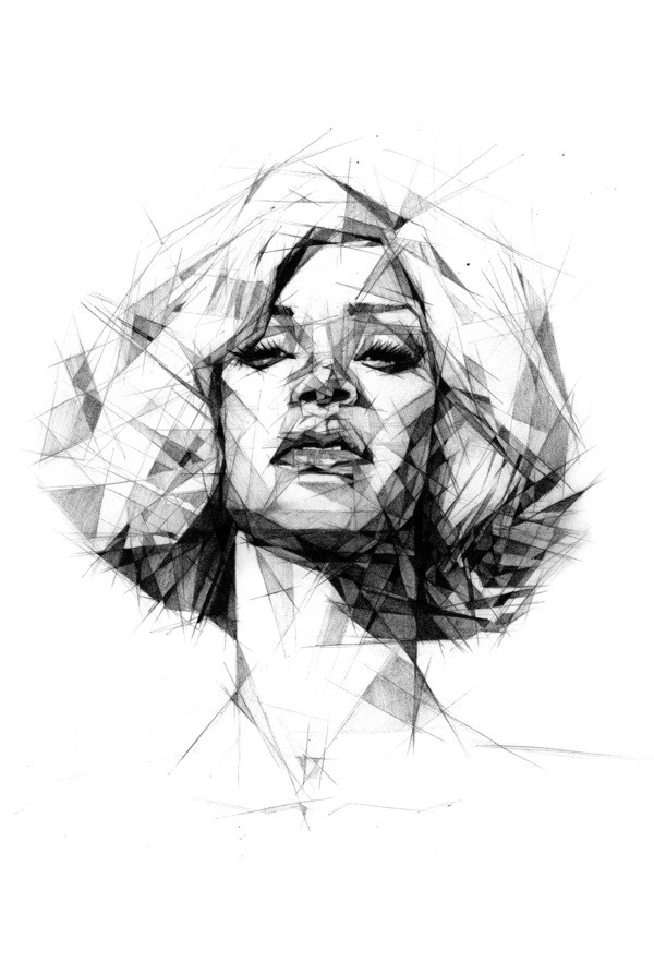 Straight Line Drawing Artist : Talented geometric illustrations